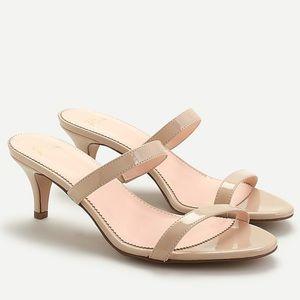 J crew kitten heel sandals nude patent leather